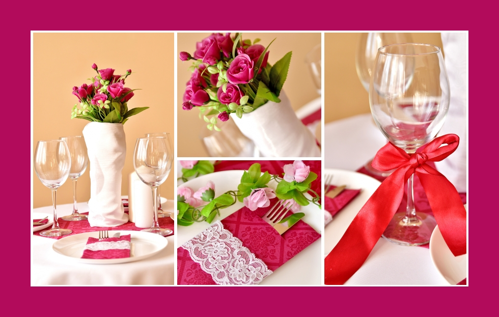 Deko Idee für ein romantisches Abendessen in Rosa
