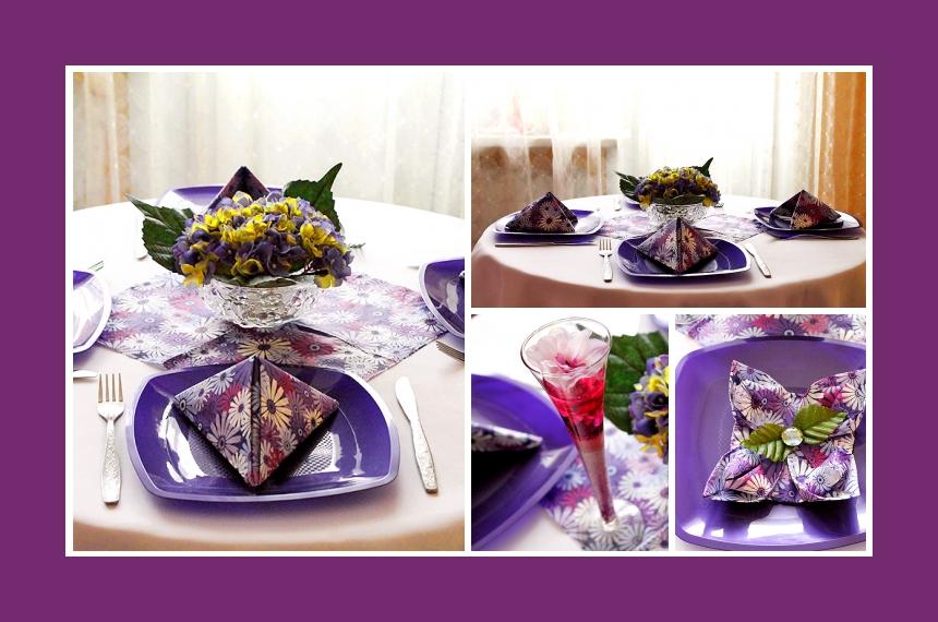 Deko Idee für einen Festtisch in Lila mit Veilchen