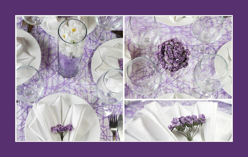 Deko Idee Geburtstag Violett Servietten falten