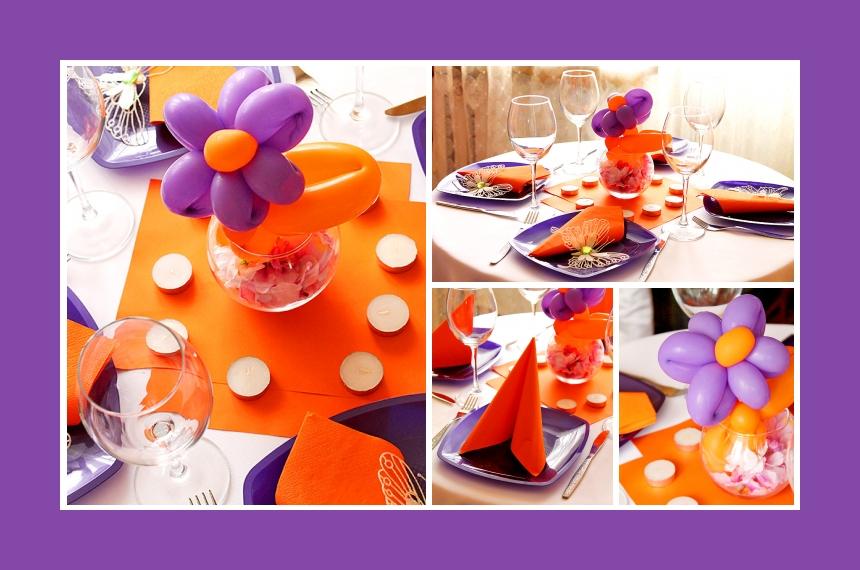 Deko Idee für einen Kindergeburtstag in Lila-Orange