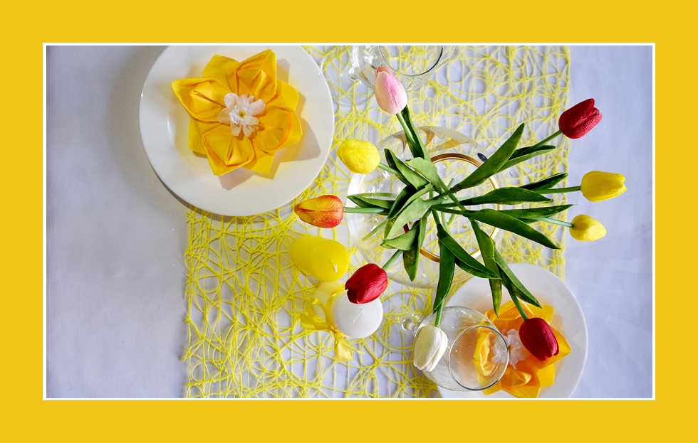 Deko Idee Ostern Kerze Tulpen Rot Gelb