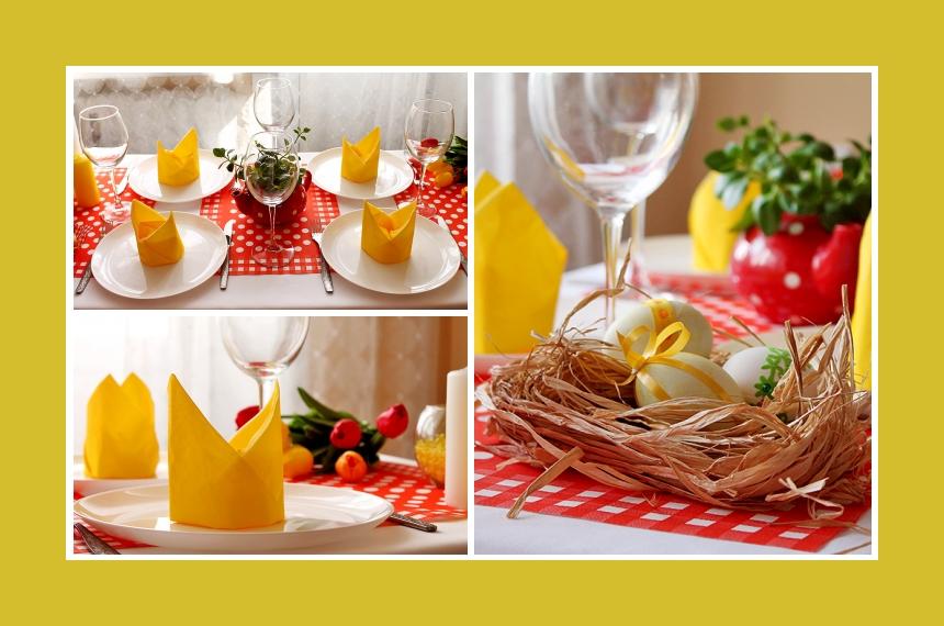 Deko Idee für Ostern mit Serviettendeko und Ostereiern