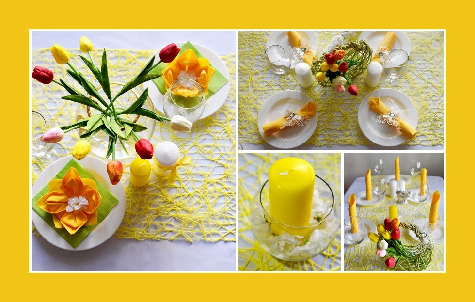 Deko Idee für Osterfeier mit bunten Blumen und Kerzen