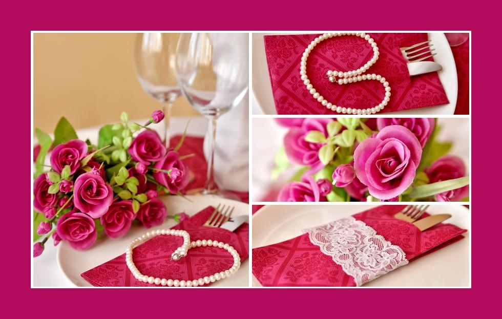 Deko Idee Perlenkette Servietten falten Rosen