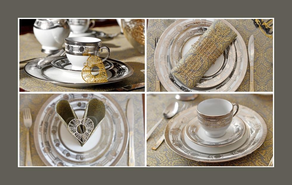 Deko Idee Tauffeier Gold Porzellan Servietten falten