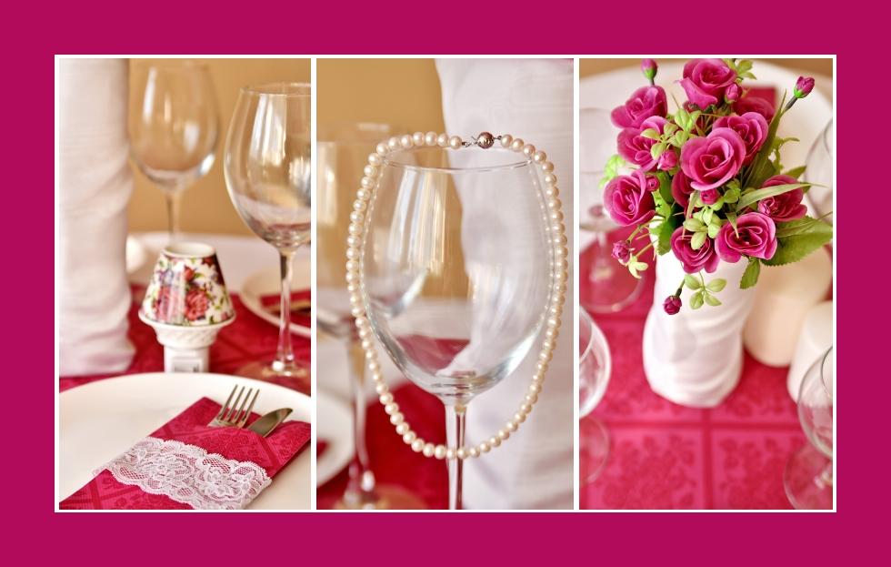 Deko Idee Tischdeko in Rosa Perlenkette