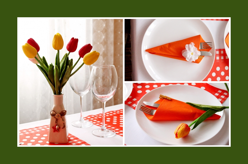 Deko Idee Tulpen Servietten falten