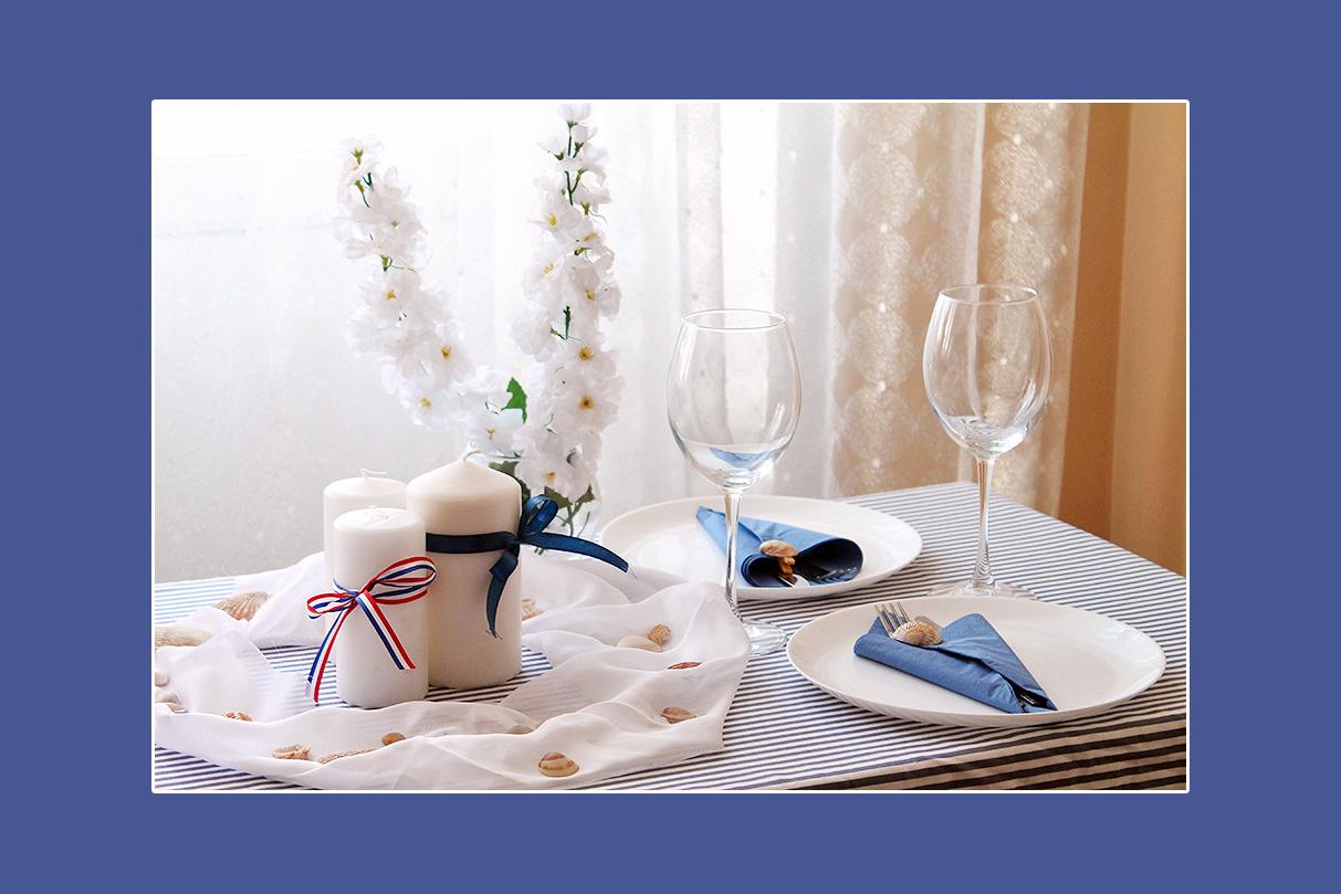 Tischdeko blau weiss