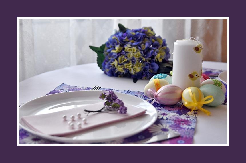 Tischdeko Ostern lila Blumendeko