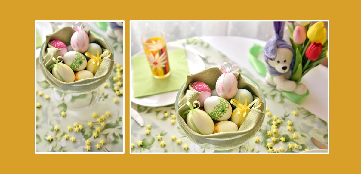 Tischdeko in zarten Farbtönen zum Osterfrühstück