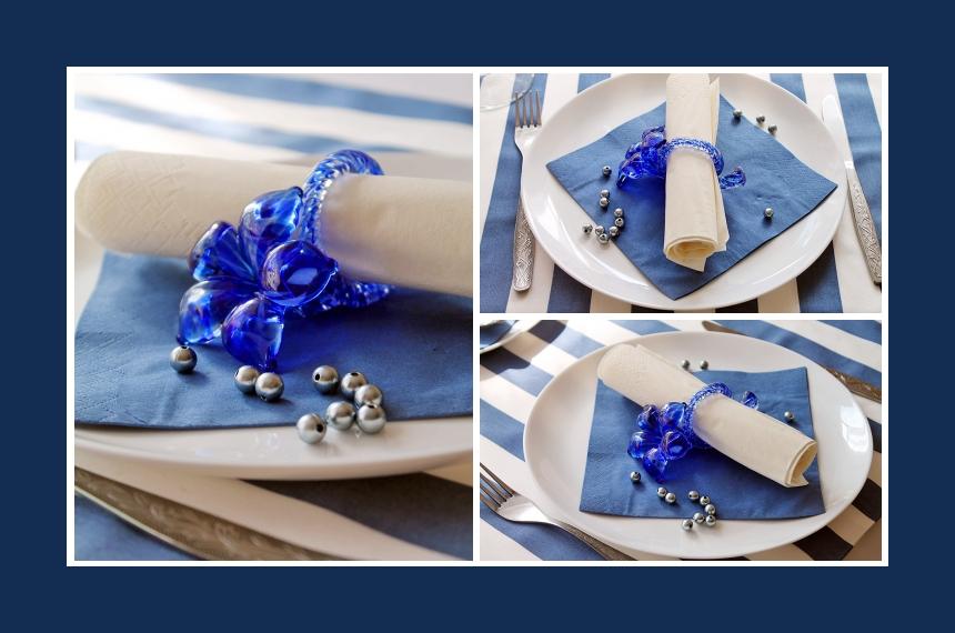 Deko Idee für Taufe in Blau-Weiß