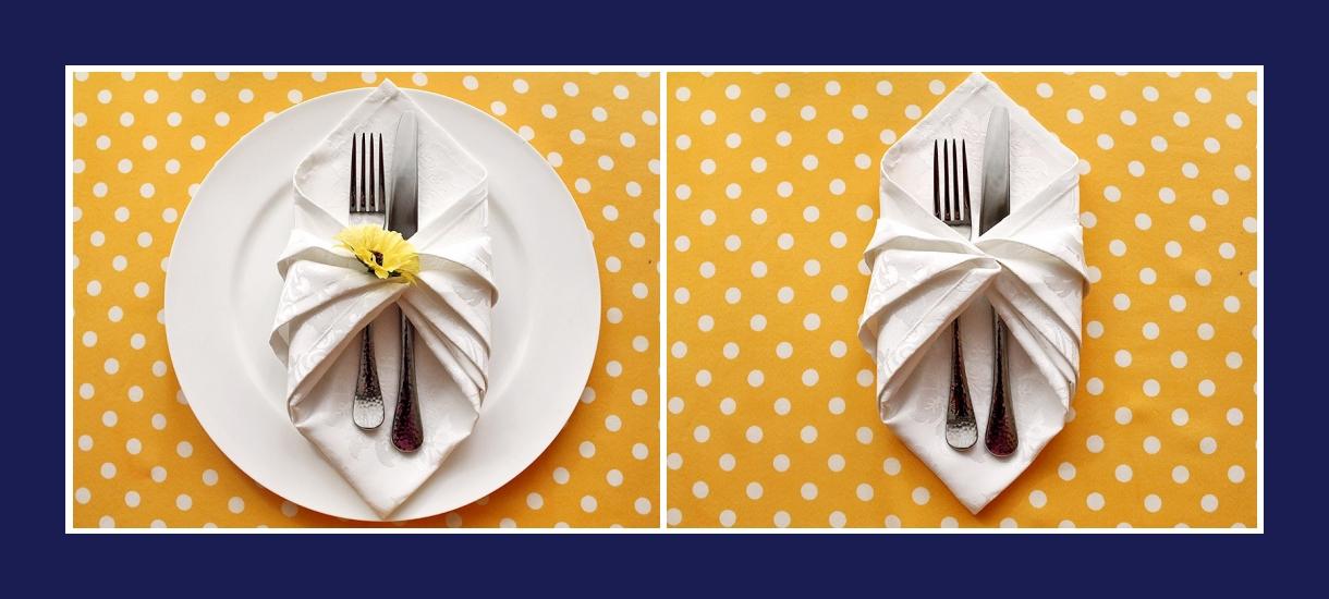 Servietten falten Bestecktasche aus Stoffserviette 6
