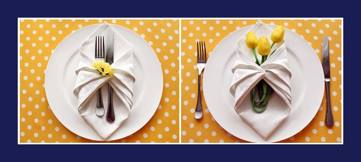 Servietten falten Bestecktasche aus Stoffserviette Anleitung 7