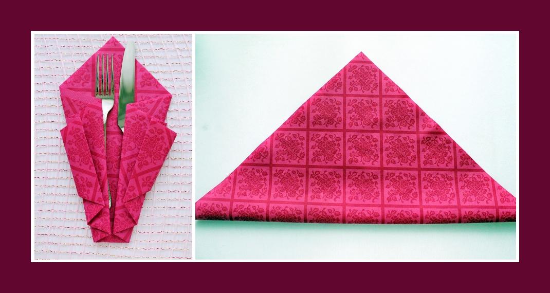 Bestecktaschen Falten servietten falten bestecktasche rosa