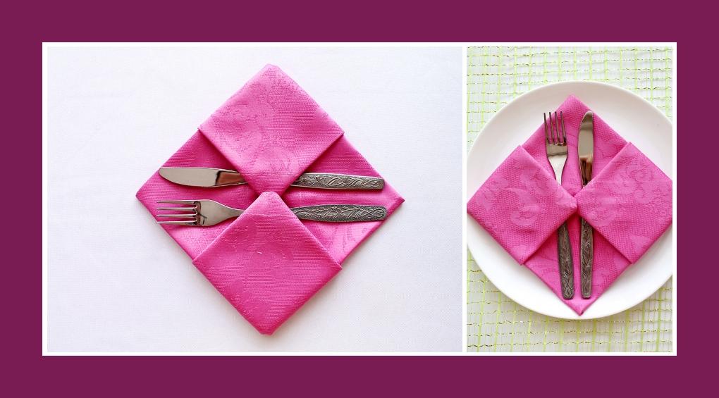 Servietten falten Bestecktasche Rosa 10
