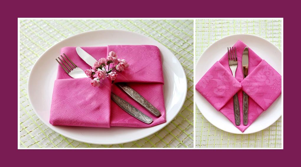 Servietten falten Bestecktasche Rosa 12