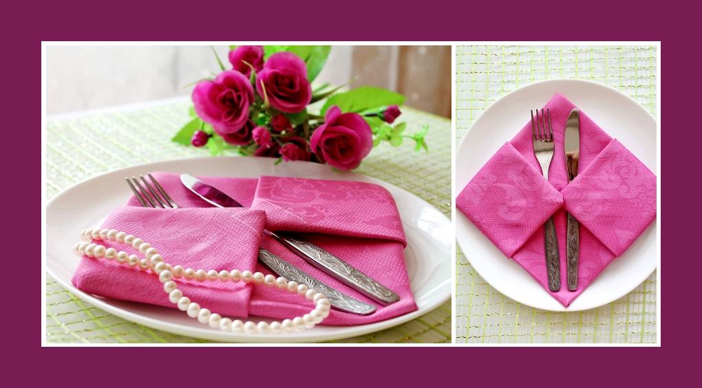 Servietten falten Bestecktasche Rosa
