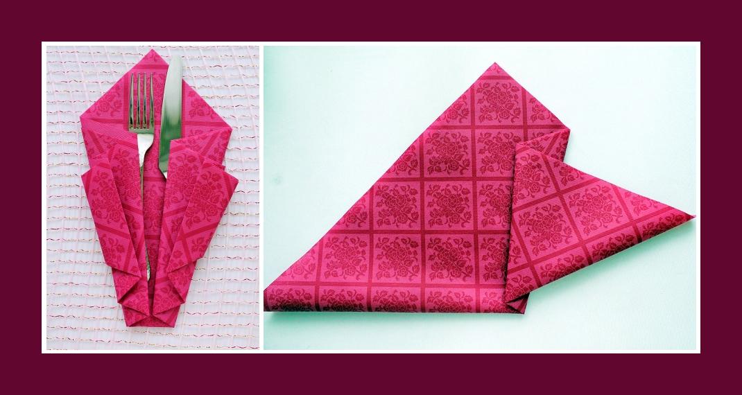 Berühmt Servietten falten Bestecktasche Rosa TE04