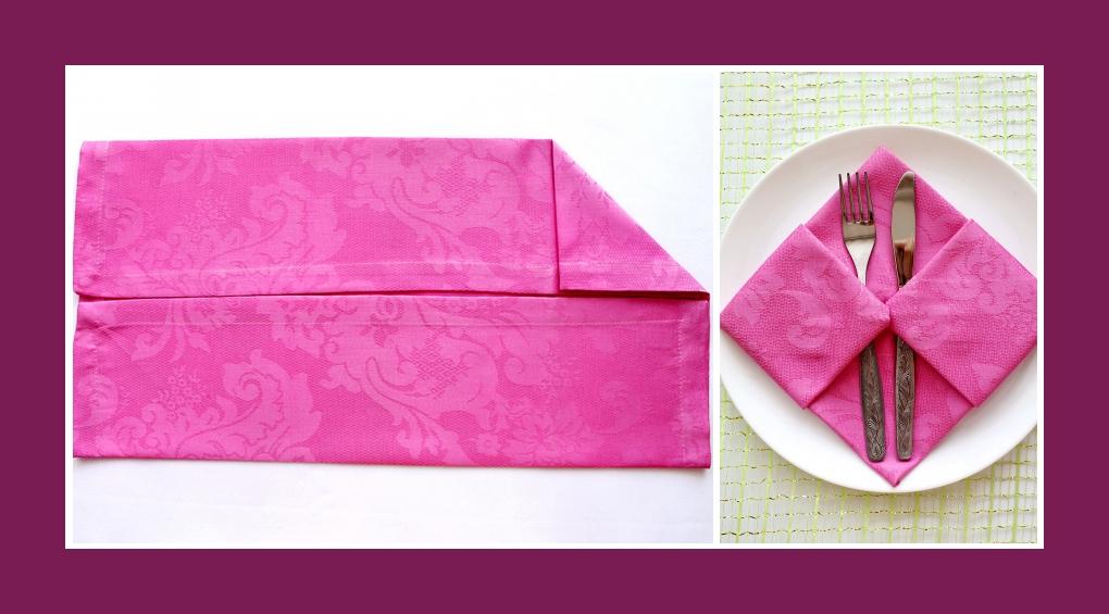 Servietten falten Bestecktasche Rosa 2