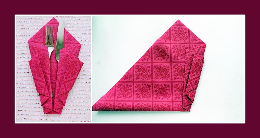 Servietten falten Bestecktasche Rosa 3