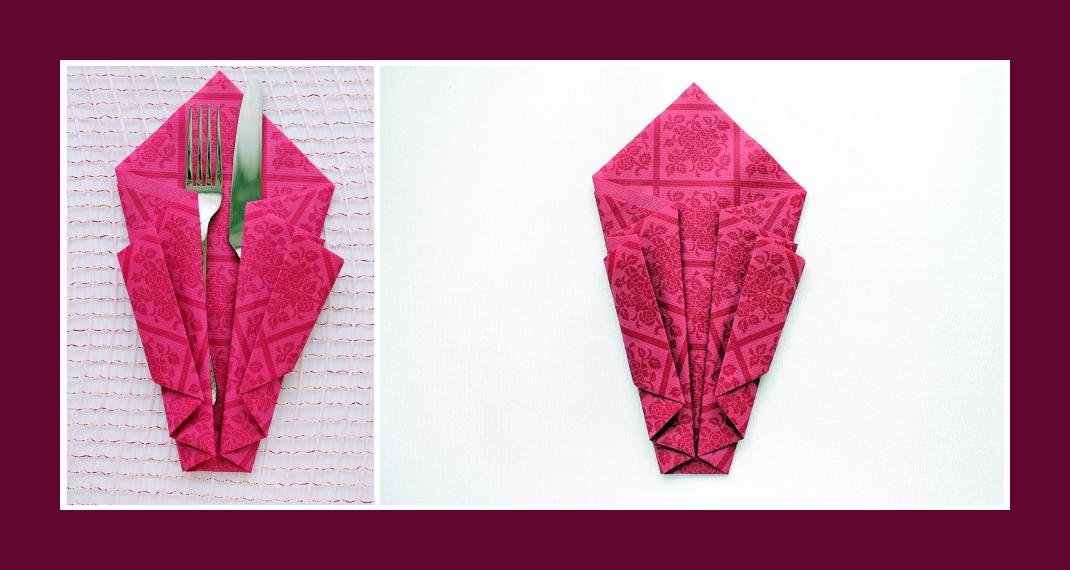 Servietten falten Bestecktasche Rosa 4
