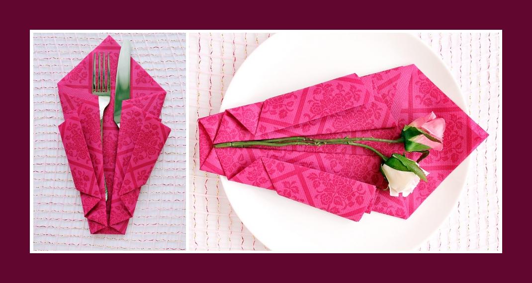 Servietten falten Bestecktasche Rosa 5