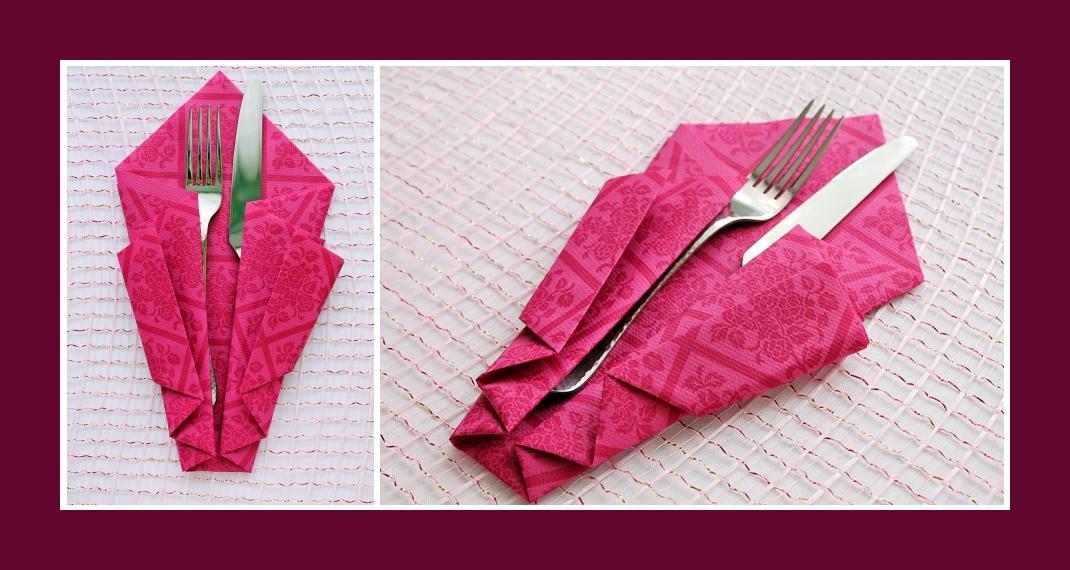 Servietten falten Bestecktasche Rosa 6