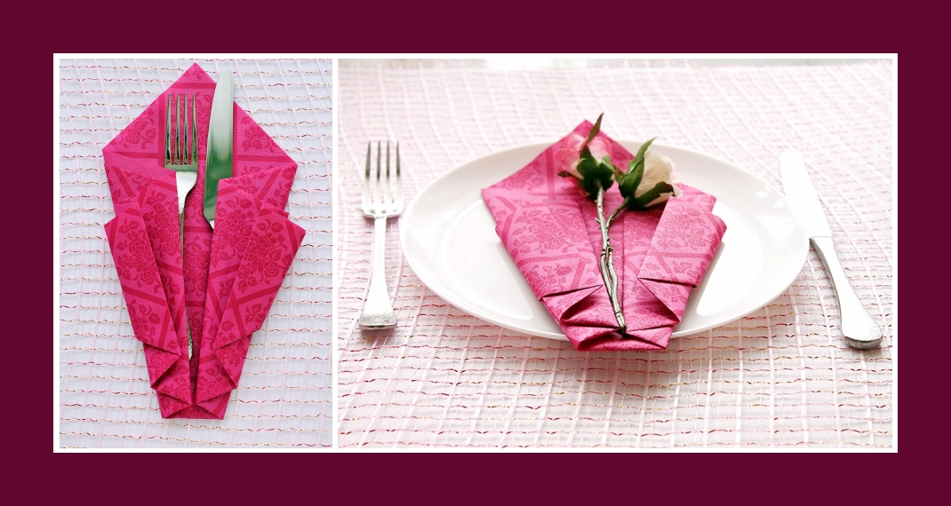 Gut gemocht Servietten falten Bestecktasche Rosa CW67