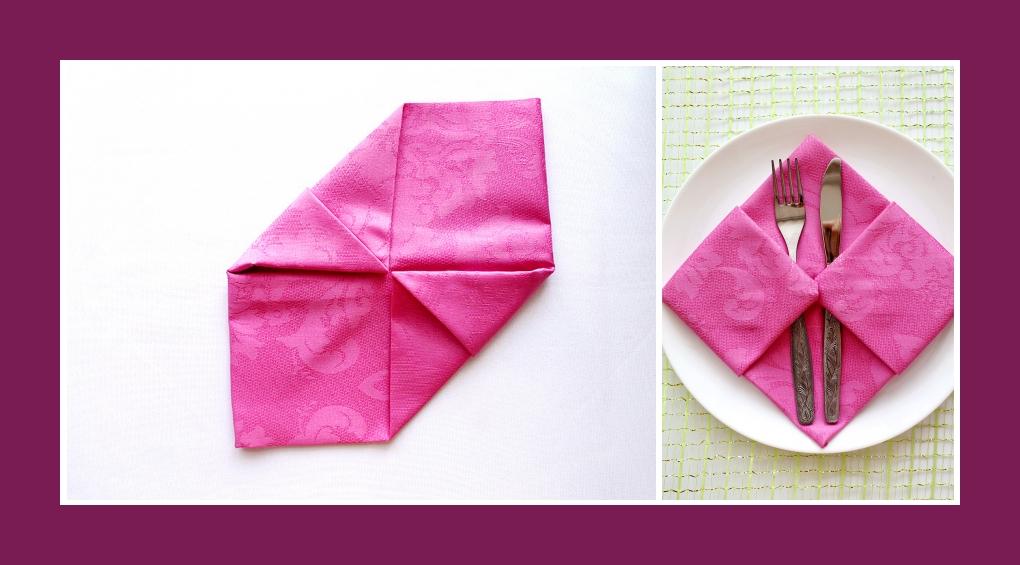 Servietten falten Bestecktasche Rosa 7