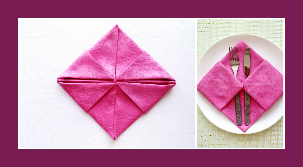 Servietten falten Bestecktasche Rosa 8