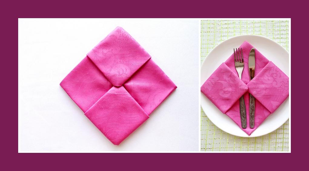 Servietten falten Bestecktasche Rosa 9