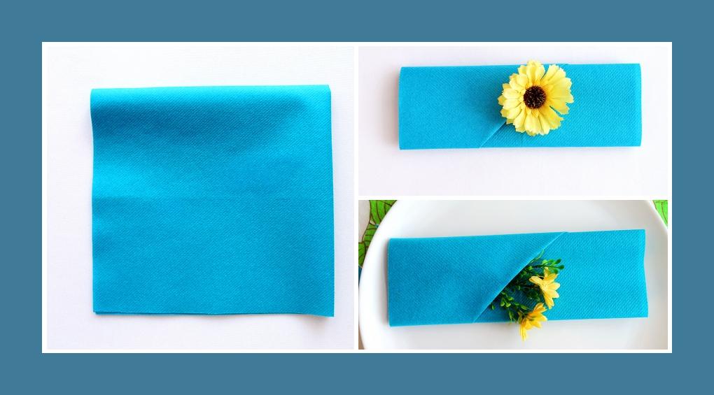 Servietten falten Blumentasche Blau 1