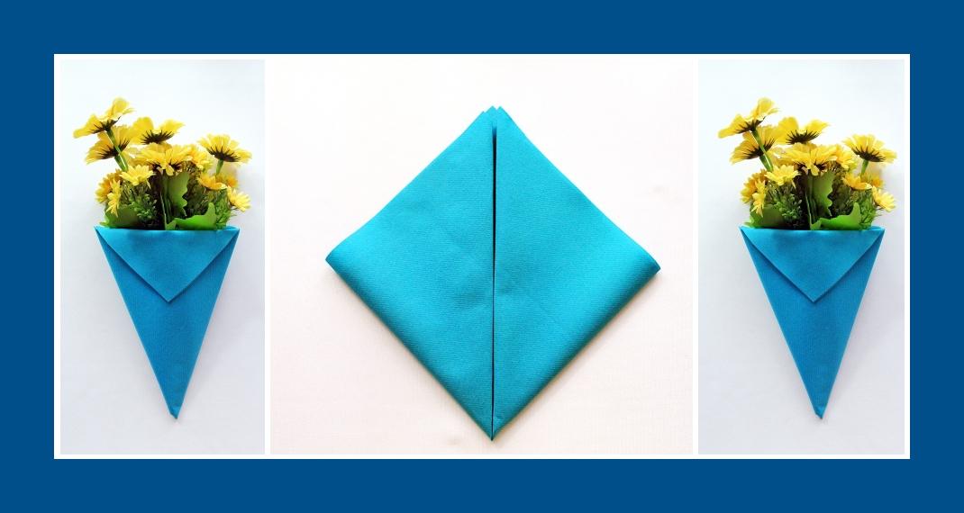 Servietten falten Blumentasche Blau 2