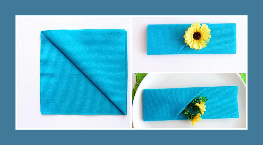 Servietten falten Blumentasche Blau 3