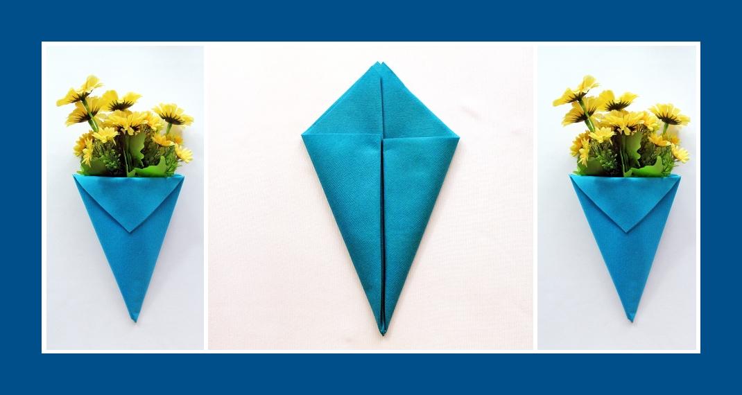 Servietten falten Blumentasche Blau 4