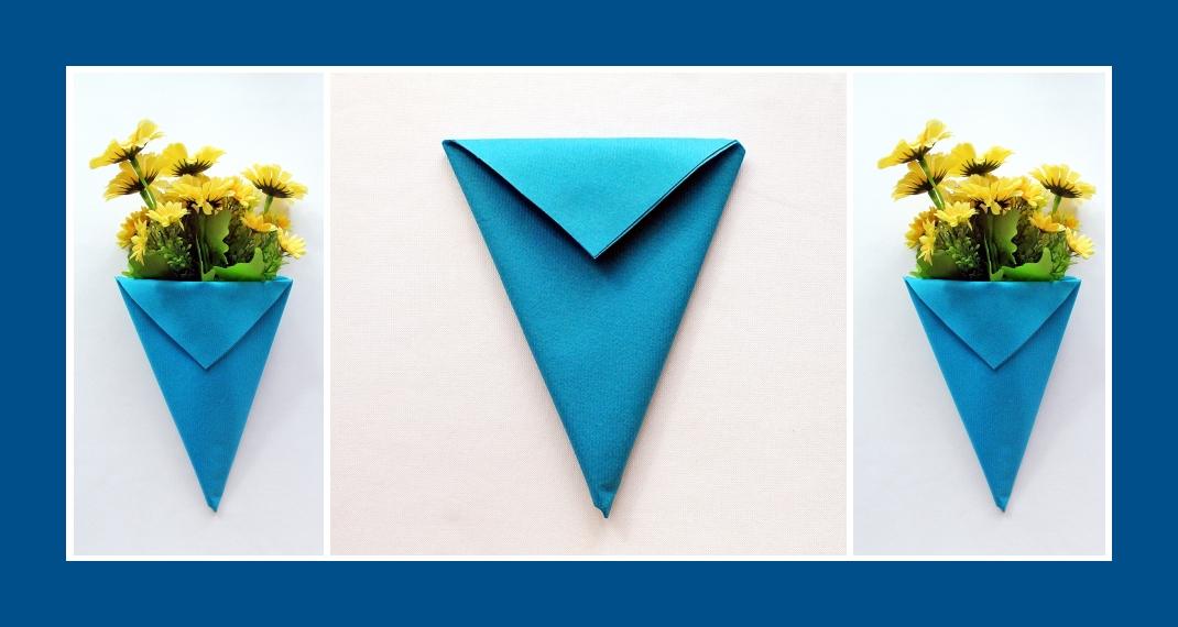 Servietten falten Blumentasche Blau 6