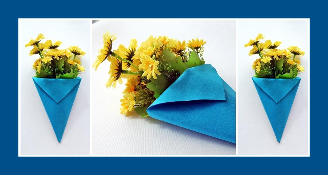 Servietten falten Blumentasche Blau 7