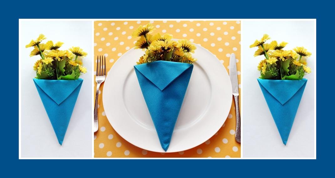 Servietten falten Blumentasche Blau