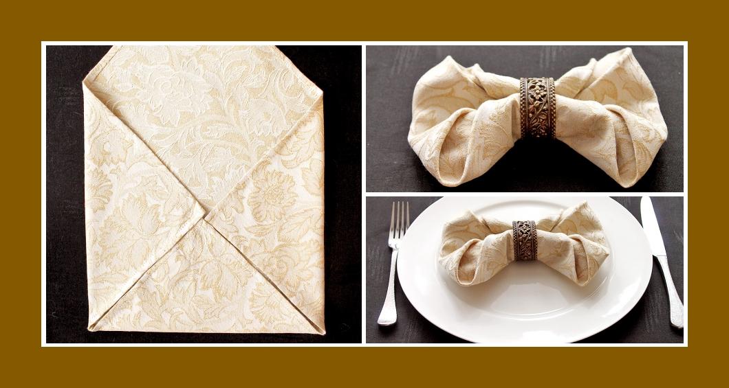 Servietten falten Hochzeit Schleife 1