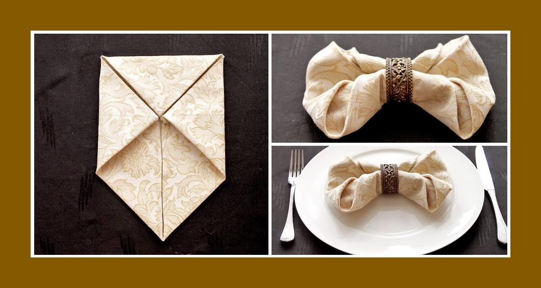 Servietten falten Hochzeit Schleife 5