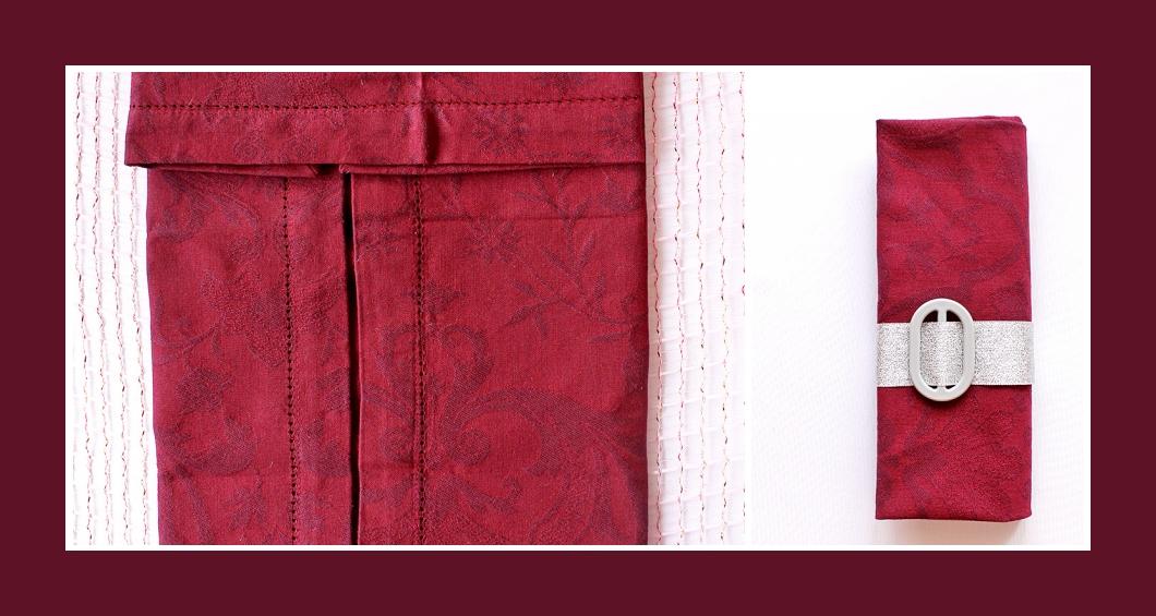 Stoffservietten falten Tasche Silber-Rot 1