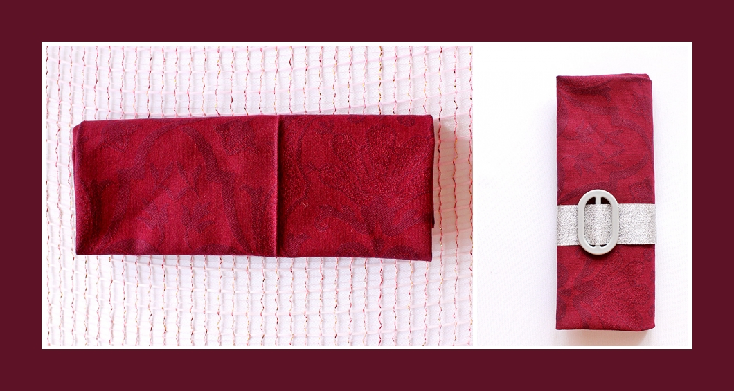 Stoffservietten falten Tasche Silber-Rot 3