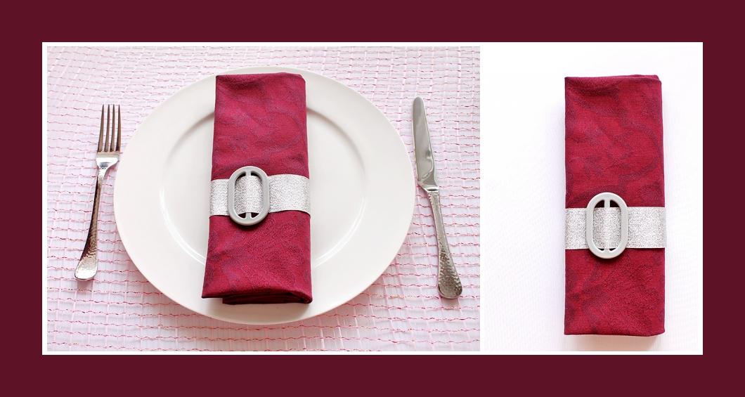 Servietten falten Tasche Silber-Rot