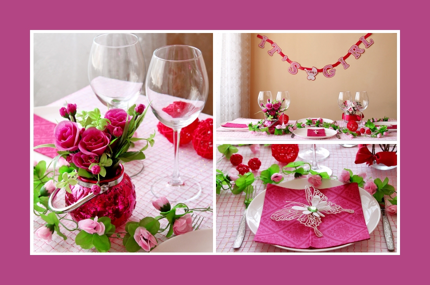 Deko Idee Mädchen Baby-Shower Rosa Tischdeko