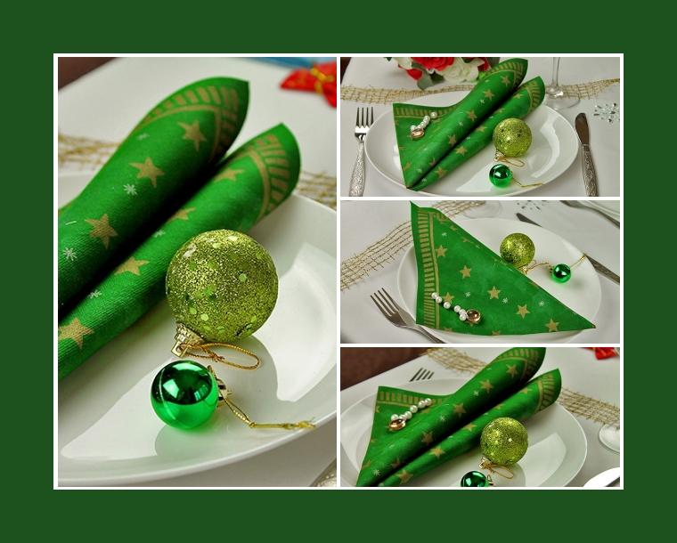 Weihnachtsdeko mit Servietten Tafelspitzen mit bunten Tannenbaumkugeln