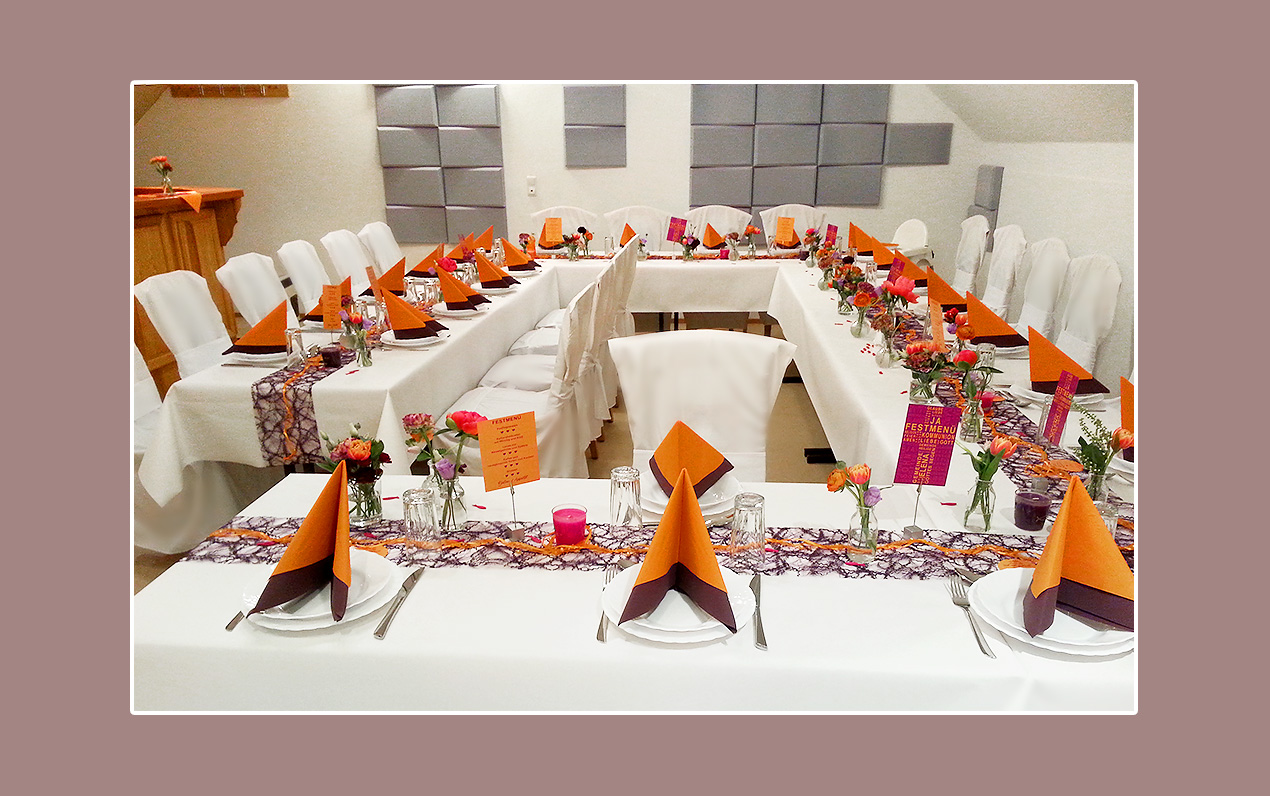 Deko für Hochzeit Orange-Lila