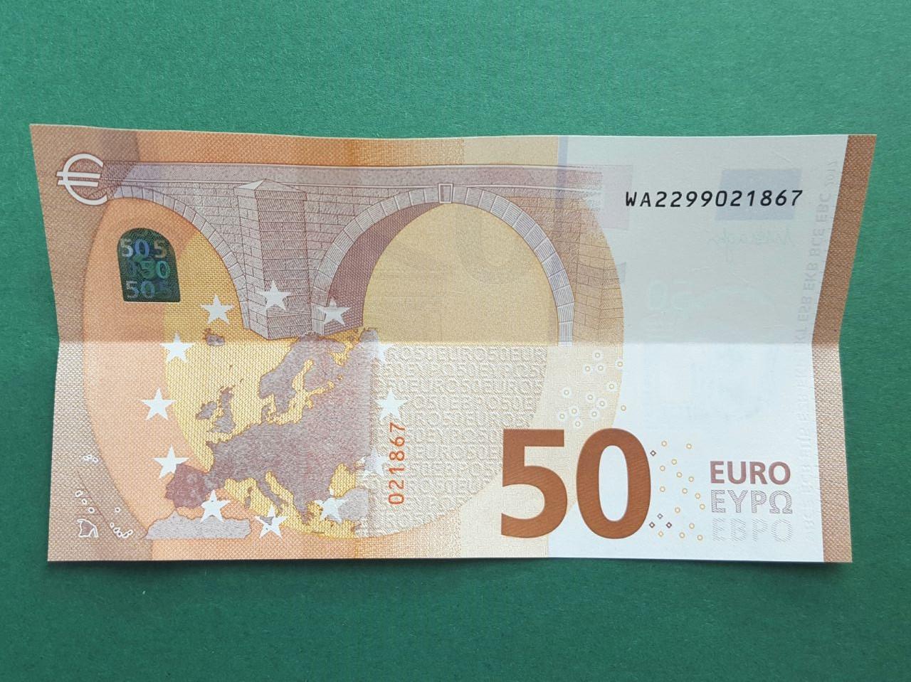 50 Euro Geldschein falten Schritt 1